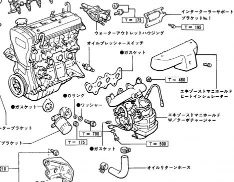 シリンダー・ヘッド・エキゾーストマニホールドW/ターボチャージャー